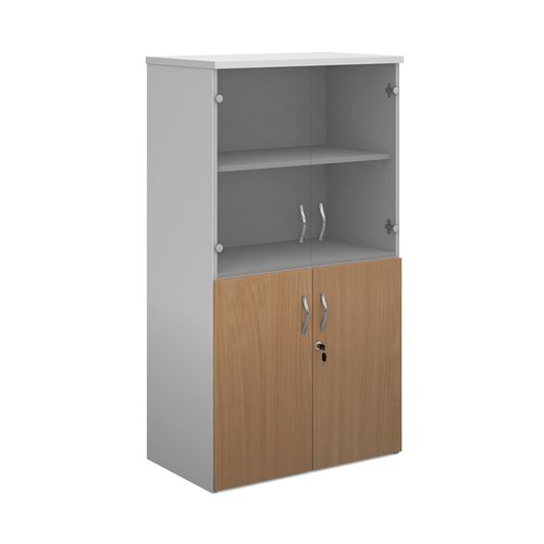 Duo combination unit with glass upper doors 1440mm high with 3 shelves - white with beech lower doors