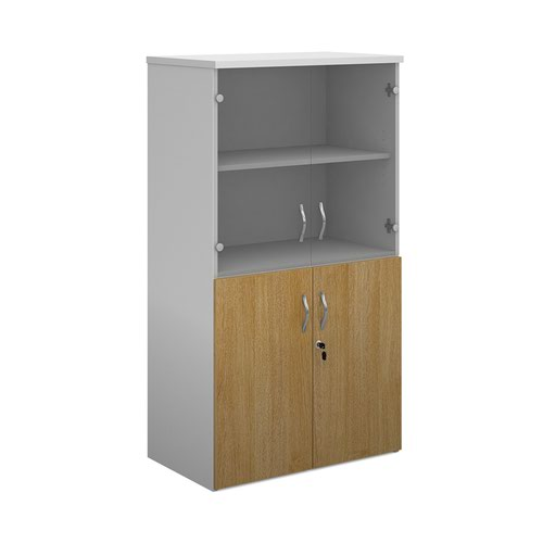 Duo combination unit with glass upper doors 1440mm high with 3 shelves - white with oak lower doors