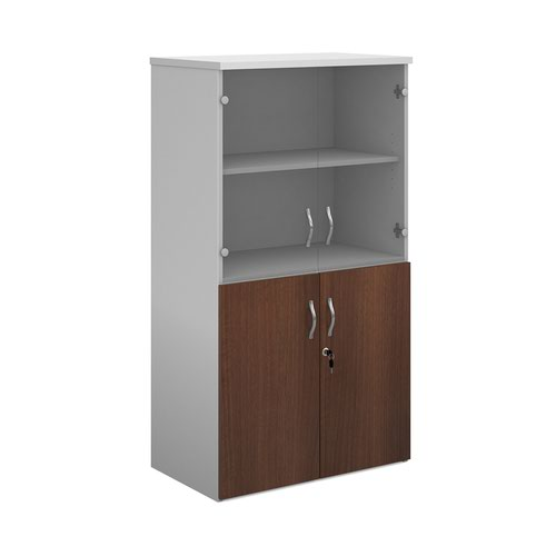 Duo combination unit with glass upper doors 1440mm high with 3 shelves - white with walnut lower doors