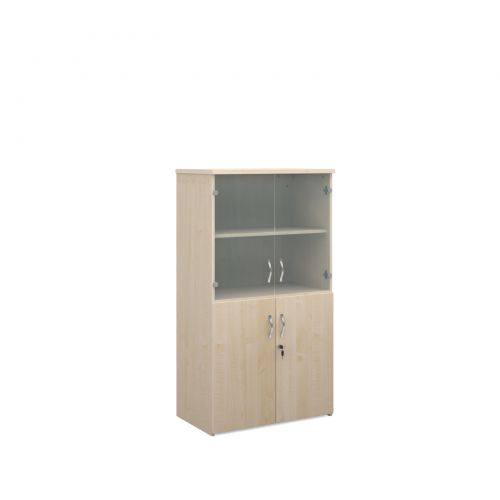 Universal combination unit with glass upper doors 1440mm high with 3 shelves - maple