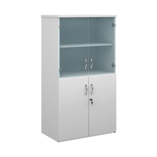 Universal combination unit with glass upper doors 1440mm high with 3 shelves - white