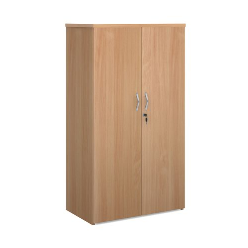 Universal double door cupboard 1440mm high with 3 shelves - beech