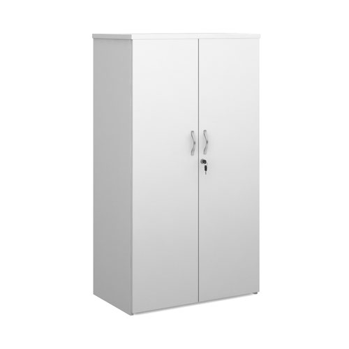 Duo double door cupboard 1440mm high with 3 shelves - white