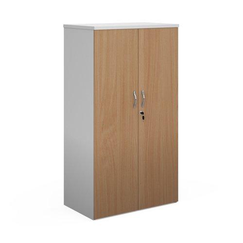 Duo double door cupboard 1440mm high with 3 shelves - white with beech doors