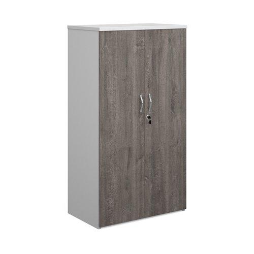 Duo double door cupboard 1440mm high with 3 shelves - white with grey oak doors