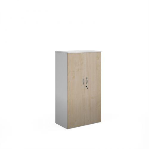 Duo double door cupboard 1440mm high with 3 shelves - white with maple doors