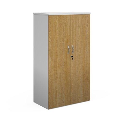 Duo double door cupboard 1440mm high with 3 shelves - white with oak doors