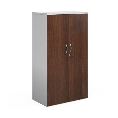 Duo double door cupboard 1440mm high with 3 shelves - white with walnut doors