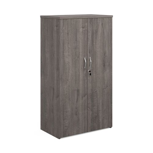 Universal double door cupboard 1440mm high with 3 shelves - grey oak