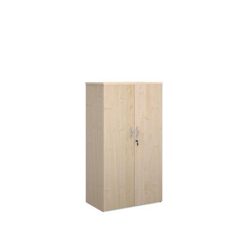 Universal double door cupboard 1440mm high with 3 shelves - maple
