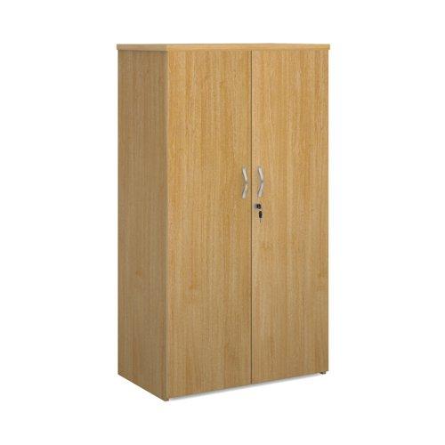 Universal double door cupboard 1440mm high with 3 shelves - oak