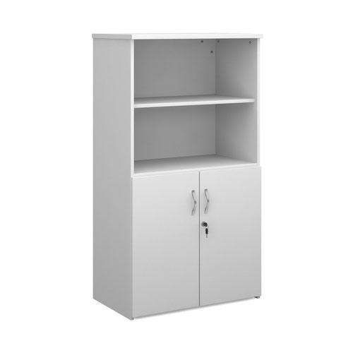 Duo combination unit with open top 1440mm high with 3 shelves - white
