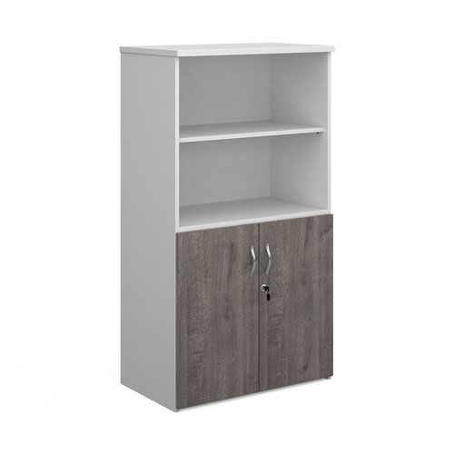 Duo combination unit with open top 1440mm high with 3 shelves - white with grey oak lower doors