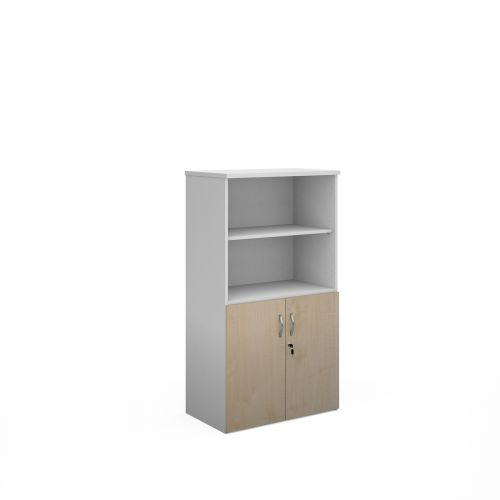 Duo combination unit with open top 1440mm high with 3 shelves - white with maple lower doors