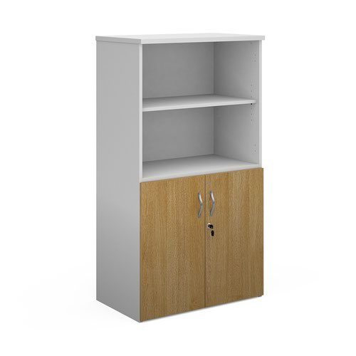 Duo combination unit with open top 1440mm high with 3 shelves - white with oak lower doors