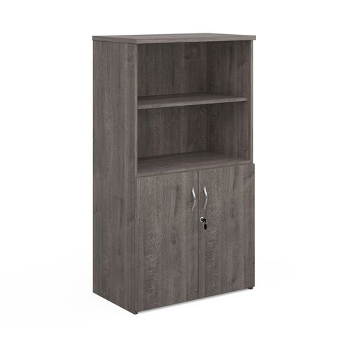 Universal combination unit with open top 1440mm high with 3 shelves - grey oak