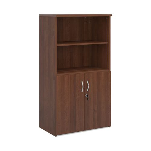 Universal combination unit with open top 1440mm high with 3 shelves - walnut
