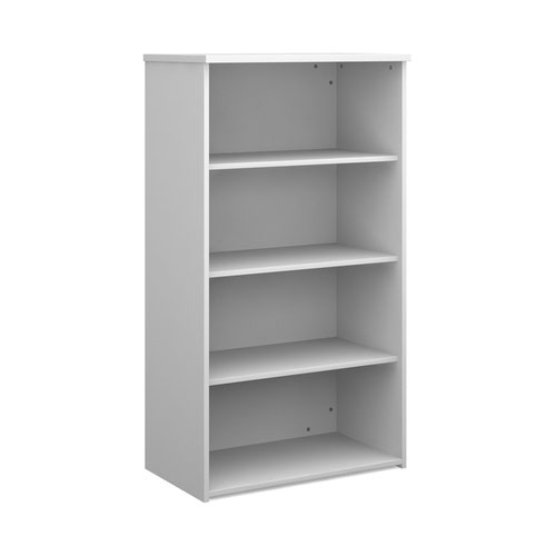 Universal bookcase 1440mm high with 3 shelves - white