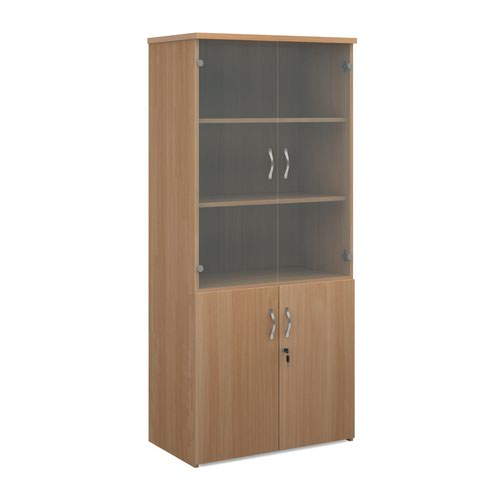 Universal combination unit with glass upper doors 1790mm high with 4 shelves - beech