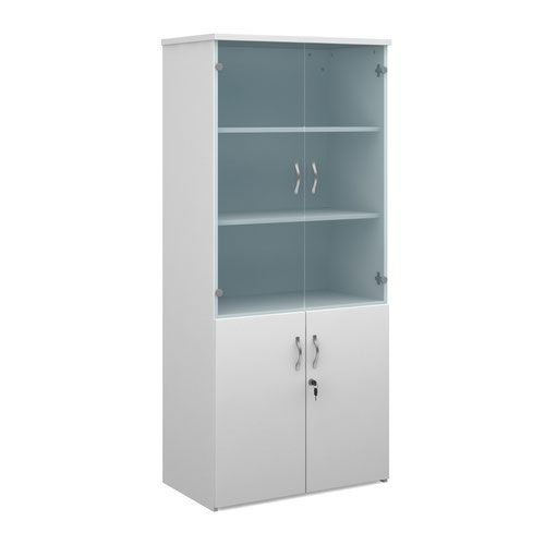 Duo combination unit with glass upper doors 1790mm high with 4 shelves - white