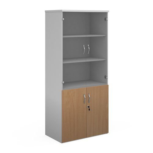 Duo combination unit with glass upper doors 1790mm high with 4 shelves - white with beech lower doors