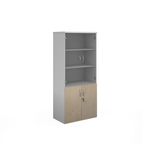 Duo combination unit with glass upper doors 1790mm high with 4 shelves - white with maple lower doors