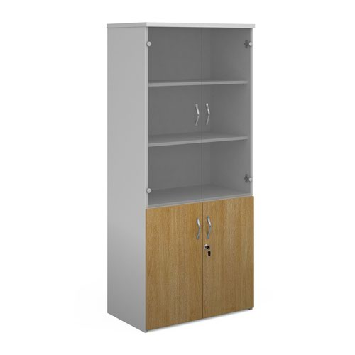 Duo combination unit with glass upper doors 1790mm high with 4 shelves - white with oak lower doors