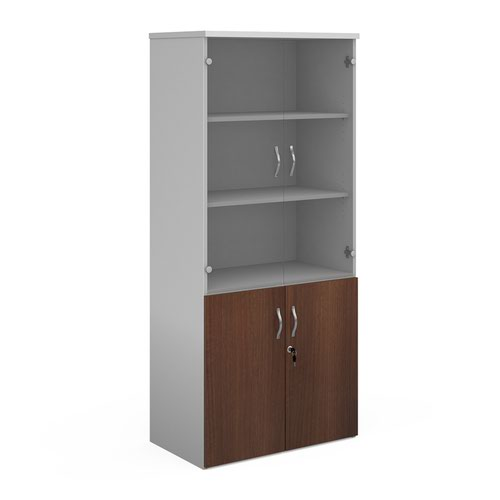 Duo combination unit with glass upper doors 1790mm high with 4 shelves - white with walnut lower doors