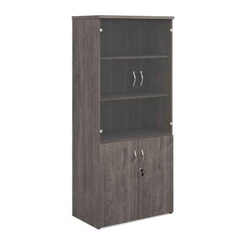 Universal combination unit with glass upper doors 1790mm high with 4 shelves - grey oak