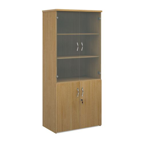 Universal combination unit with glass upper doors 1790mm high with 4 shelves - oak