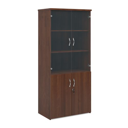 Universal combination unit with glass upper doors 1790mm high with 4 shelves - walnut