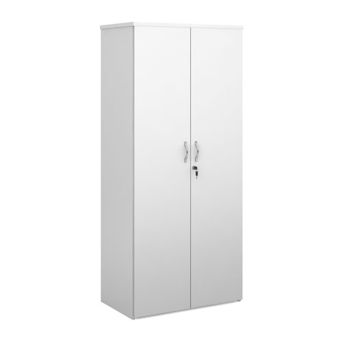Duo double door cupboard 1790mm high with 4 shelves - white