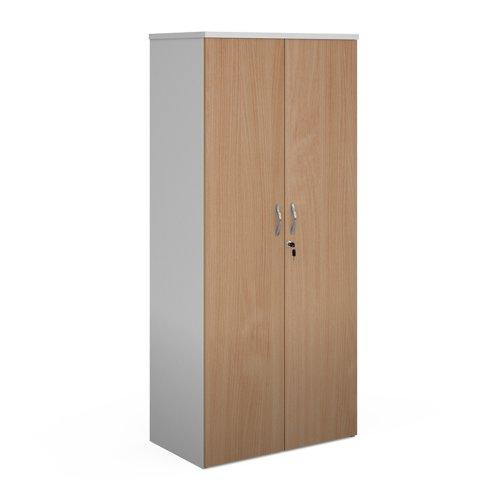 Duo double door cupboard 1790mm high with 4 shelves - white with beech doors
