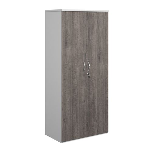 Duo double door cupboard 1790mm high with 4 shelves - white with grey oak doors