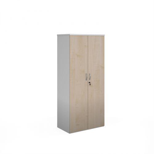 Duo double door cupboard 1790mm high with 4 shelves - white with maple doors