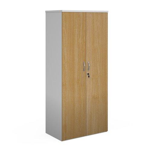 Duo double door cupboard 1790mm high with 4 shelves - white with oak doors
