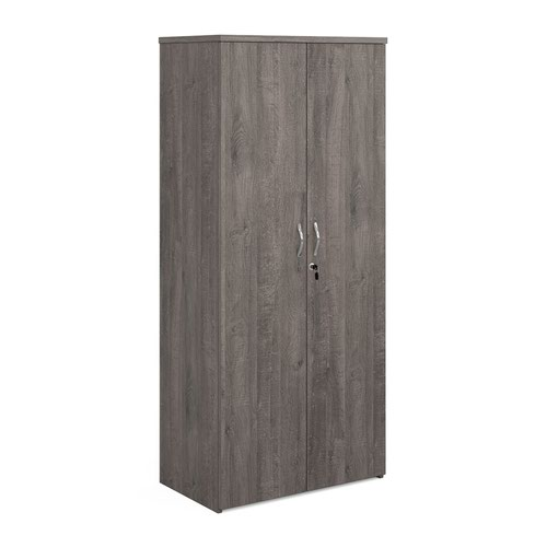 Universal double door cupboard 1790mm high with 4 shelves - grey oak