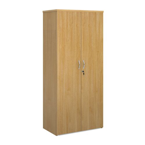Universal double door cupboard 1790mm high with 4 shelves - oak