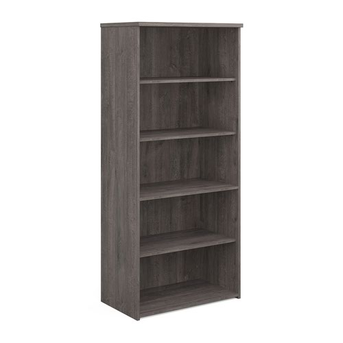 Universal bookcase 1790mm high with 4 shelves - grey oak