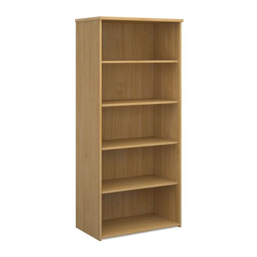 Universal bookcase 1790mm high with 4 shelves - oak