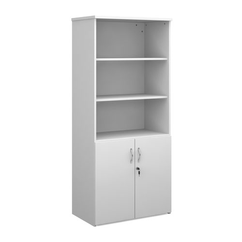Duo combination unit with open top 1790mm high with 4 shelves - white