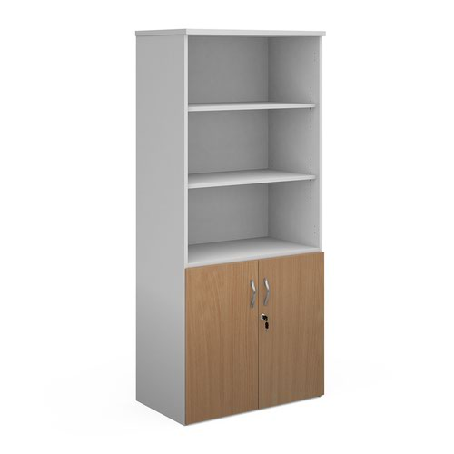 Duo combination unit with open top 1790mm high with 4 shelves - white with beech lower doors