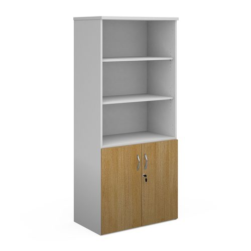 Duo combination unit with open top 1790mm high with 4 shelves - white with oak lower doors