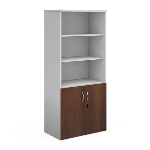 Duo combination unit with open top 1790mm high with 4 shelves - white with walnut lower doors