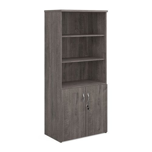 Universal combination unit with open top 1790mm high with 4 shelves - grey oak