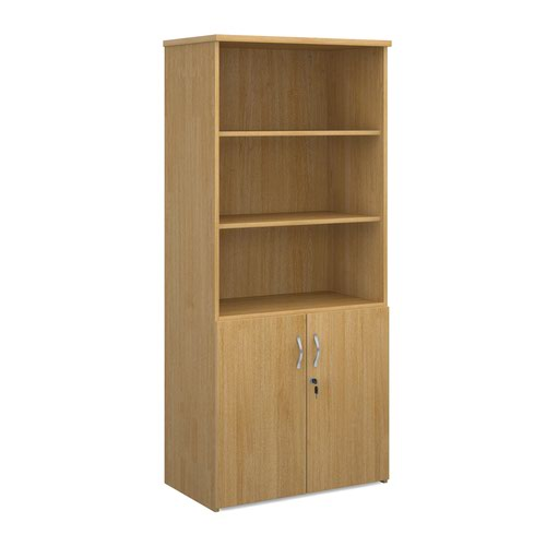 Universal combination unit with open top 1790mm high with 4 shelves - oak