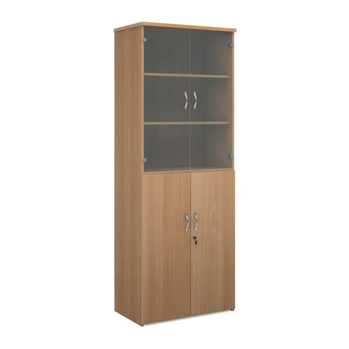 Universal combination unit with glass upper doors 2140mm high with 5 shelves - beech