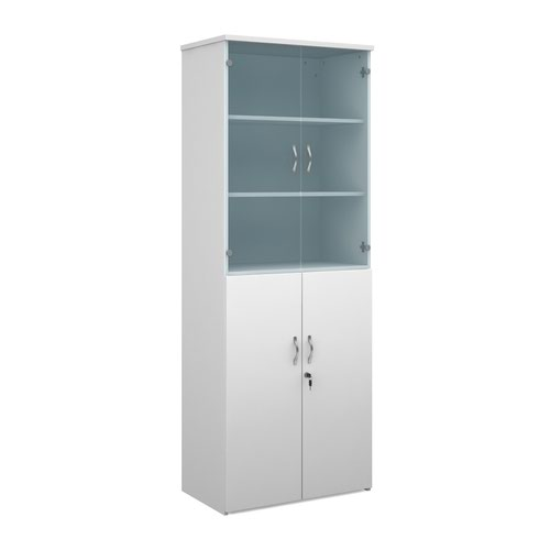 Duo combination unit with glass upper doors 2140mm high with 5 shelves - white