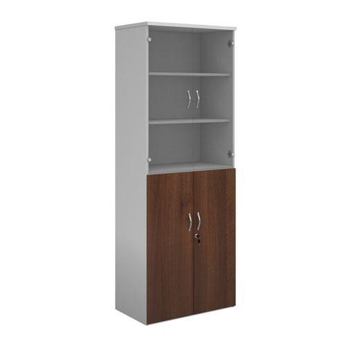 Duo combination unit with glass upper doors 2140mm high with 5 shelves - white with walnut lower doors