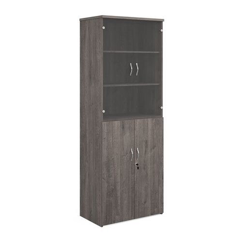 Universal combination unit with glass upper doors 2140mm high with 5 shelves - grey oak